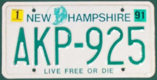 Image of a New Hampshire license plate